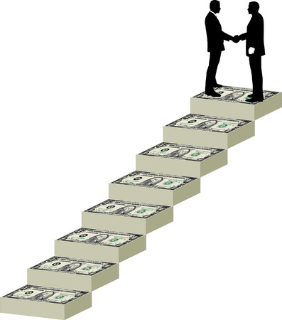 Two businessmen shake hands at the top of a staircase mane of money
