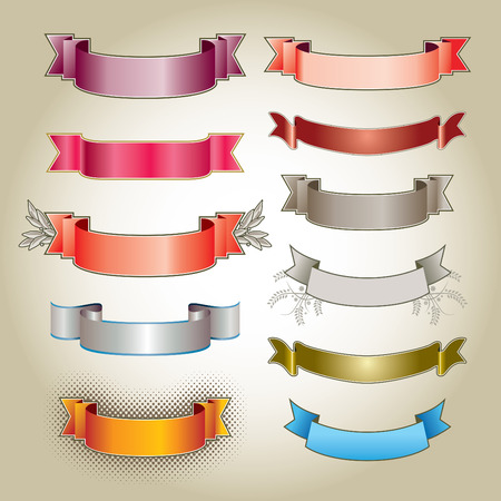 varied: A set of various blank, colorful banners on a parchment background.