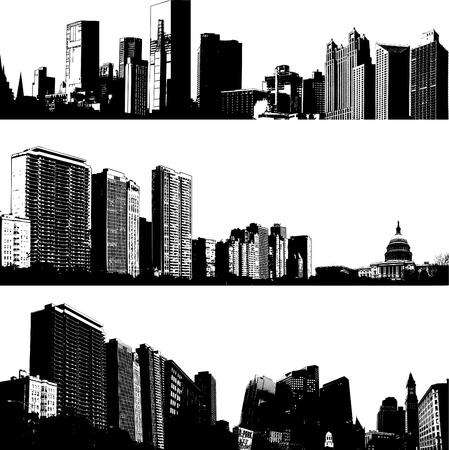 panoramic view: 3 vector city skylines