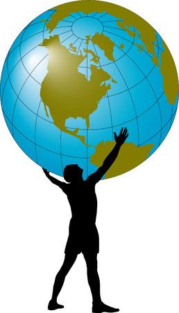 overhead: Man with a globe overhead Illustration