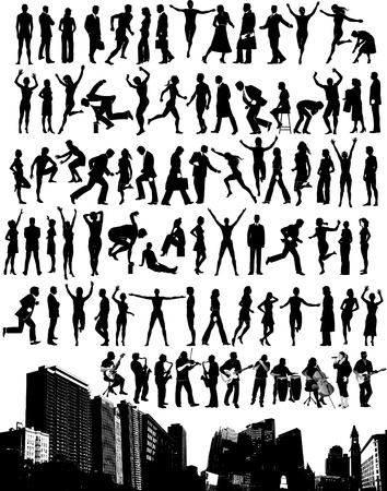 many vector silhouettes of people in a variety of activities