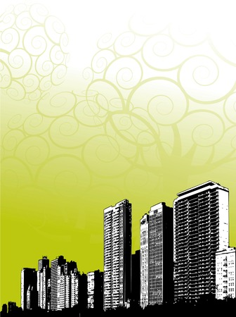 Illustration of grunge city buildings on fancy green background. Vector
