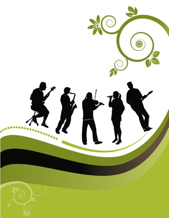 violinist: floral music vector Background. Has background space for text. Illustration
