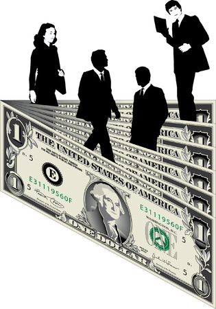 Business people in a landscape of dollars Vector