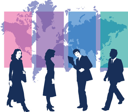 business people with map Illustration