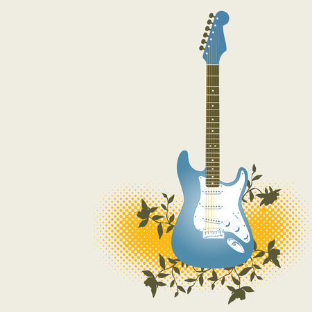fretboard: An abstract background with a blue electric guitar. Illustration