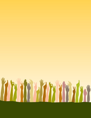 peer: Gradient background with field of hands