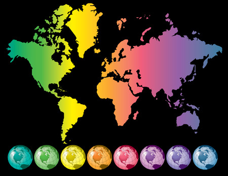 Rainbow map earth and globe, vector illustration background Vector