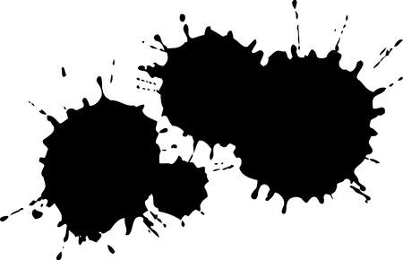 worn sign: Salpicaduras de tinta Negro  Vectores