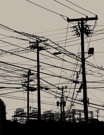 Black and white image of electric wires and poles.
