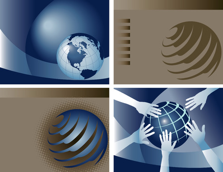 4 vector globe backgrounds Stock fotó - 3387692