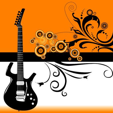 resonancia: Guitarra grunge banner en formato vectorial
