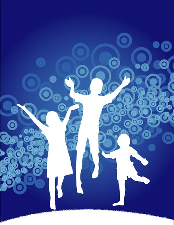 Vector background of kids jumping with space for text 일러스트