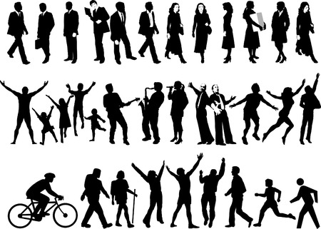 Vector silhouettes of people in all kinds of activities Vector