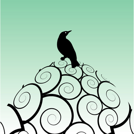 Vector bird background with floral