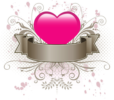 Valentine heart and banner Stock Vector - 3397695