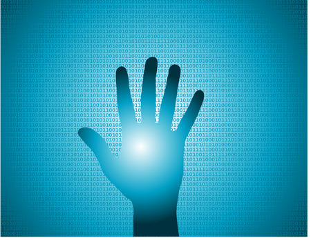 a hand touching a screen as concept for digital identity scan Vector