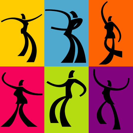 silhouetted: Illustration of silhouetted people dancing Illustration