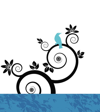 uncultivated: Vector bird background with floral
