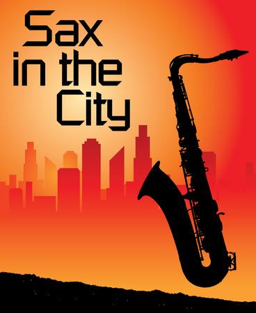 tenore: Sax nella citt� di sfondo  Vettoriali