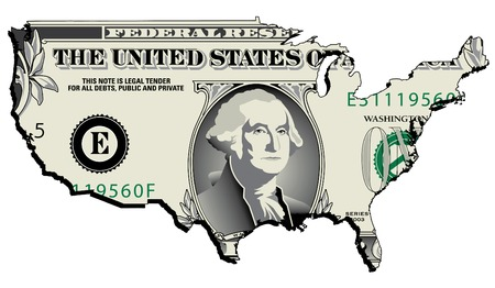 one dollar bill: A nicely drawn dollar bill in the shape of the USA