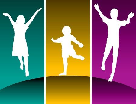 Drie kinderen springen op een heuvel in de gekleurde panelen  Stock Illustratie