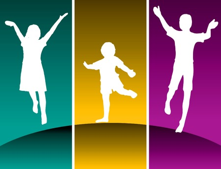 Three kids jumping on a hilltop in colored panels