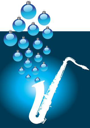 A white sax with Christmas baubles coming out of it