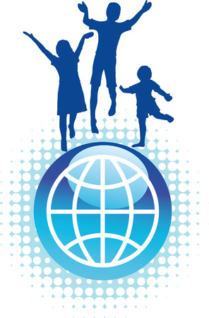 Vector background of kids jumping on top of the world