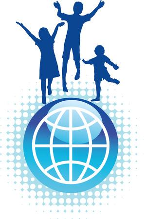 freedom logo: Vector de antecedentes de ni�os saltando en la cima del mundo