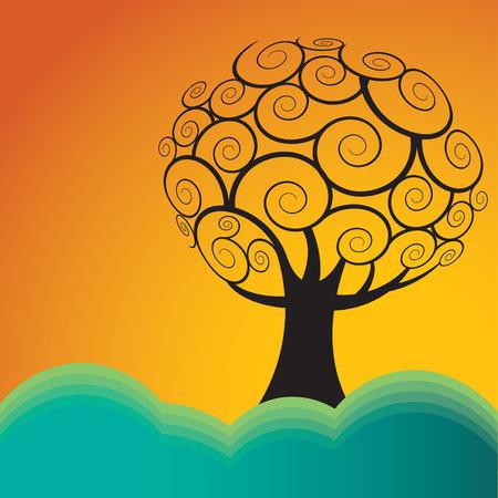 scène met boom op een heuvel Stock Illustratie