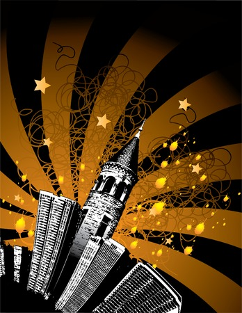 A Grunge city with a tower and stars Vector