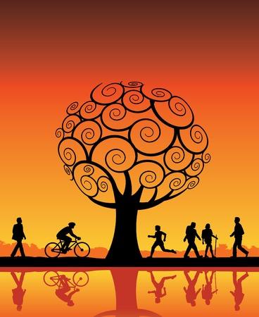 Mensen buiten met boom vector achtergrond  Stock Illustratie