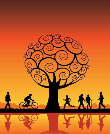 morning walk: People outdoors with tree vector background