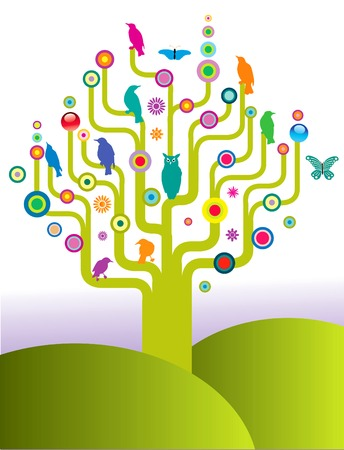 An abstract tree filled with colorful birds and butterflies. Illustration