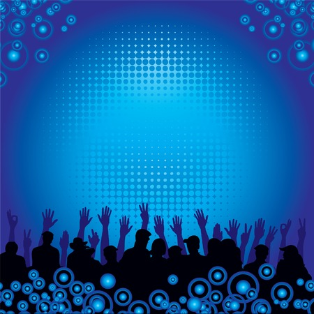 People at a concert enjoying themselves vector background Vector