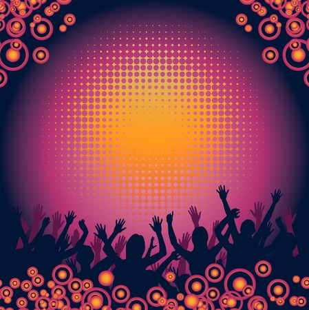 People at a concert enjoying themselves vector background