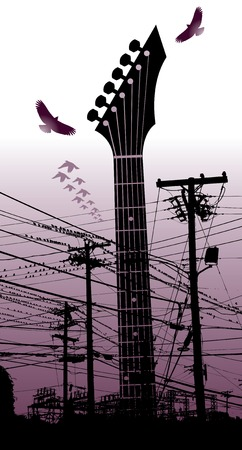 frets: Una guitarra el�ctrica aparece en lo alto y poderoso entre las aves y los postes de tel�fono en este vector de la m�sica de fondo