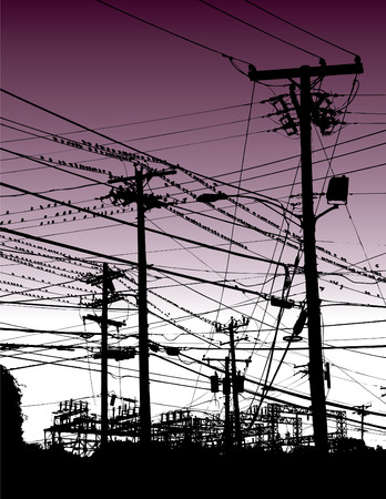 songwriter: An electric guitar appears high and mighty among birds and telephone poles in this music vector background Illustration