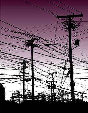 Une guitare électrique apparaît entre les oiseaux et les poteaux téléphoniques dans ce contexte de vecteur de musique et des puissants  Banque d'images - 3547435
