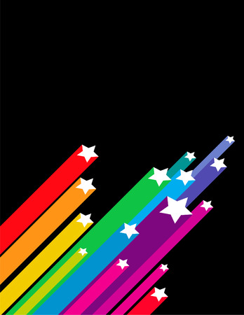 star: Colorful shooting star vector background against black with room for text