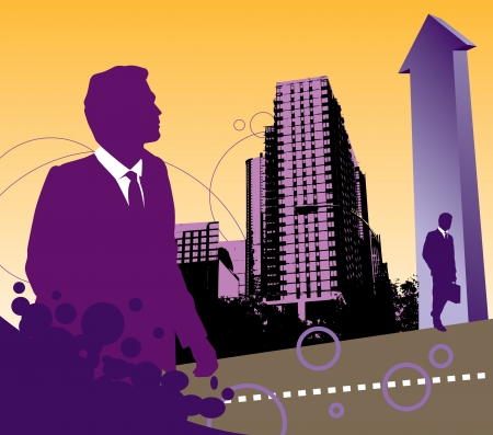 business landscape with two businessmen and an arrow Vector