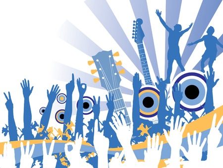 Funky music party in shades of blue