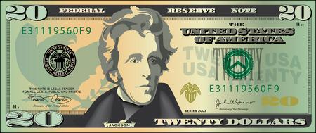 20 dólar proyecto de ley Ilustración de vector