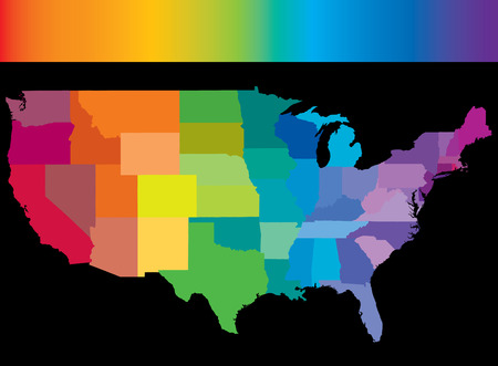 United States of America in colors of the rainbow with rainbow header Vector