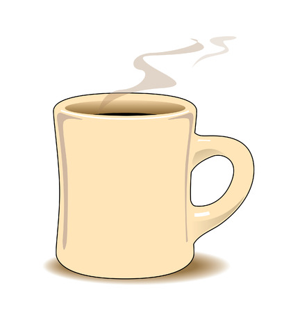 musetti: Cream colored coffee mug with black coffee and steam rising Illustration