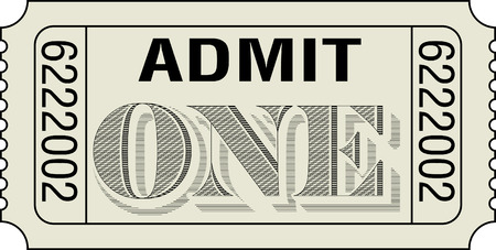 one item: Admit One Ticket with dollar bill etching style lettering