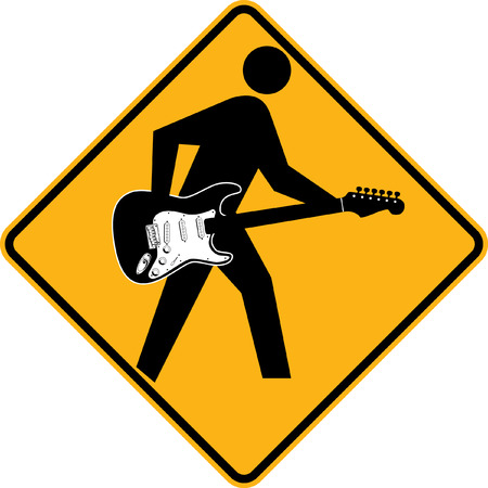 rockstars: Pedestrian sign with man playing a guitar Illustration