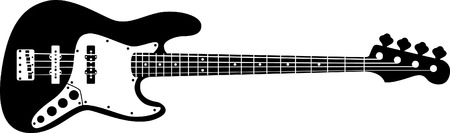 fretboard: A detailed drawing of an electric bass guitar
