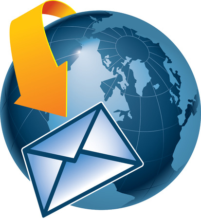 depiction: A depiction of how email encircles the earth Illustration
